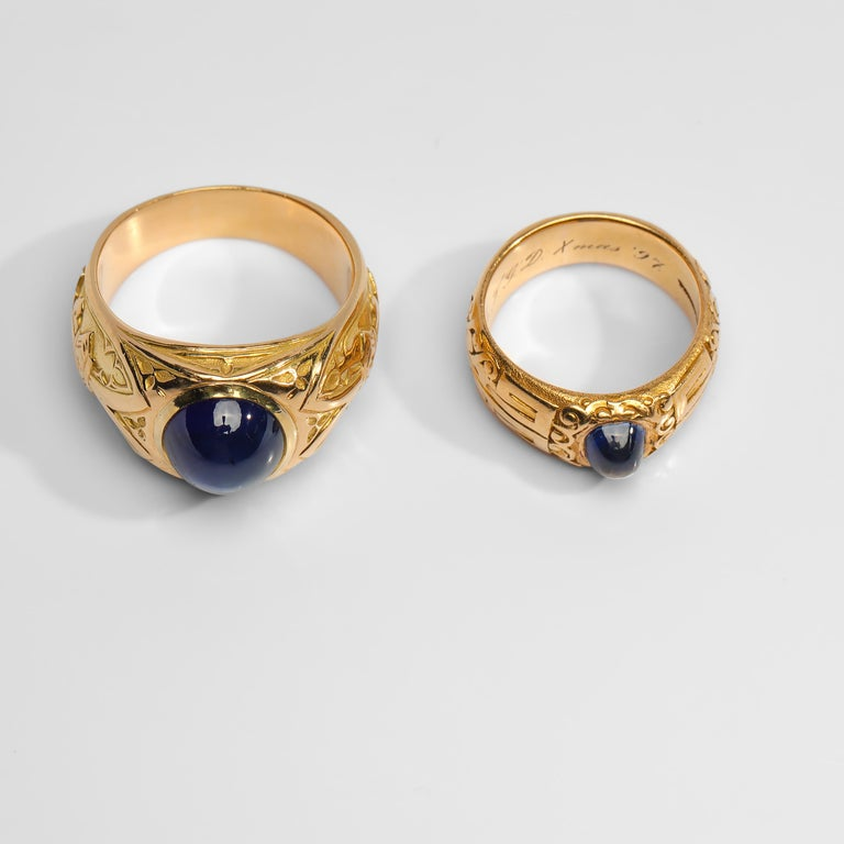Pair of Tiffany & Co. Sapphire Rings from Gilded Age Certified No-Heat Kashmir In Excellent Condition For Sale In Southbury, CT