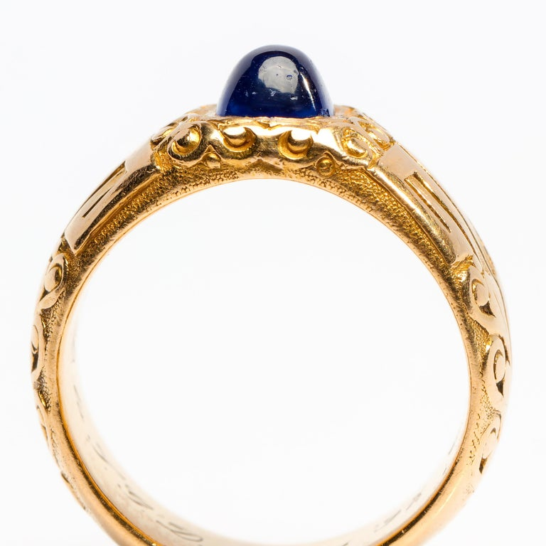 Women's or Men's Pair of Tiffany & Co. Sapphire Rings from Gilded Age Certified No-Heat Kashmir For Sale