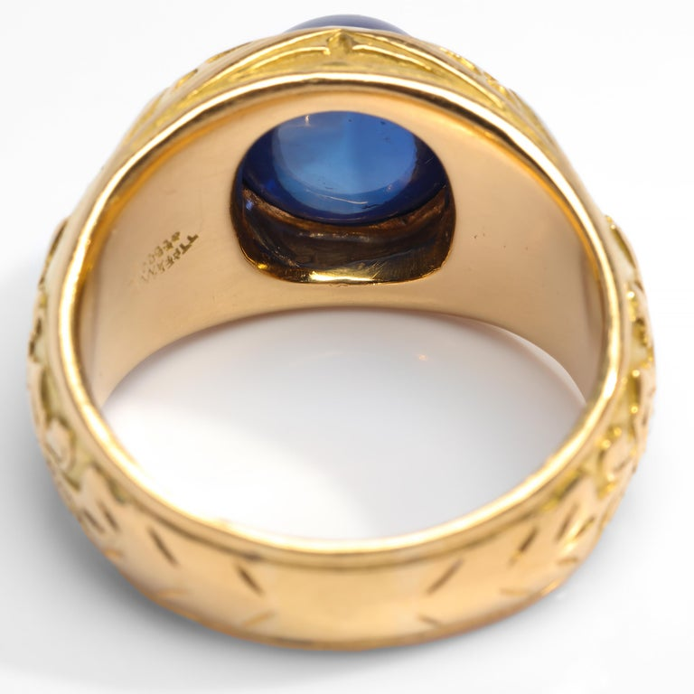 Pair of Tiffany & Co. Sapphire Rings from Gilded Age Certified No-Heat Kashmir For Sale 2