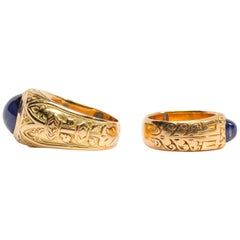Pair of Tiffany & Co. Sapphire Rings from Gilded Age Certified No-Heat Kashmir
