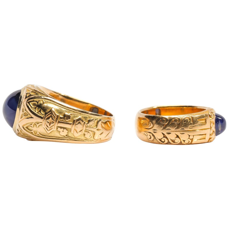 Pair of Tiffany & Co. Sapphire Rings from Gilded Age Certified No-Heat Kashmir For Sale