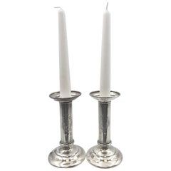 Pair of Tiffany & Co. Sterling Silver Candlesticks from 1903 with Fine Engraving