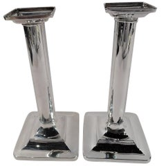 Pair of Tiffany & Co. Sterling Silver Classical Column Candlesticks