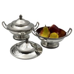 Pair of Tiffany & Co. Sterling Silver Tureens Covered Centerpiece Bowls, C. 1870