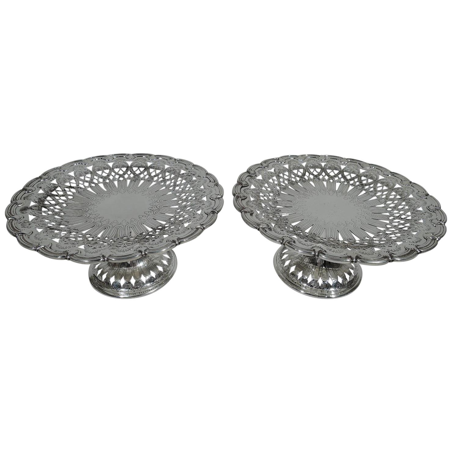 Pair of Tiffany Edwardian Art Nouveau Sterling Silver Compotes
