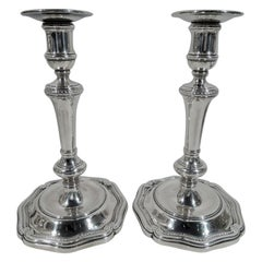 Pair of Tiffany Edwardian Classical Sterling Silver Candlesticks