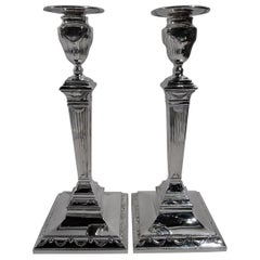 Pair of Tiffany English Neoclassical Sterling Silver Candlesticks
