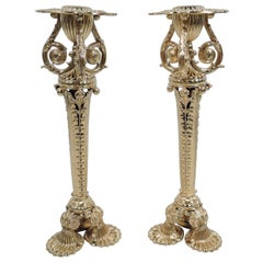 Pair of Tiffany Exuberantly Classical Paris World's Fair Candlesticks