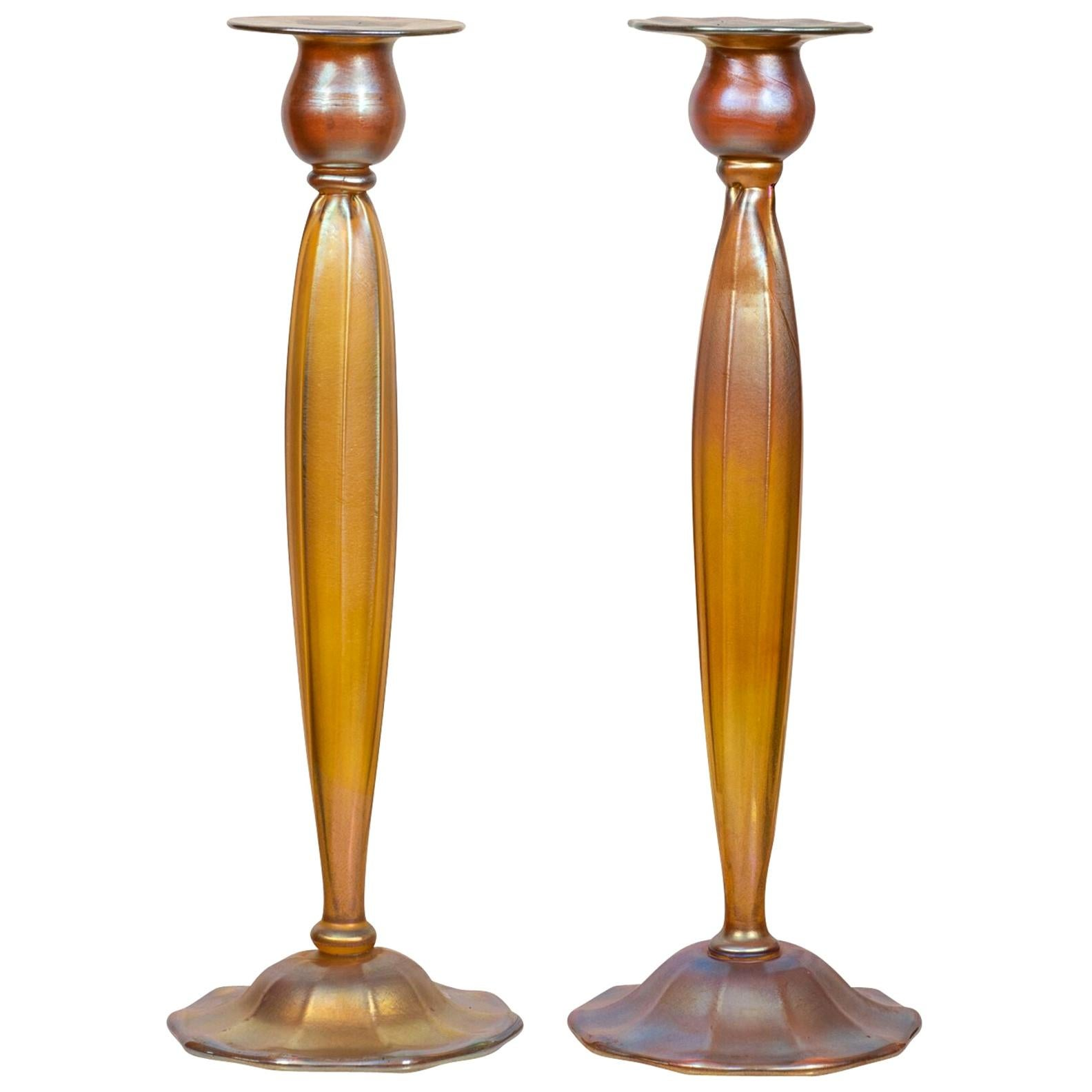 Pair of Tiffany Favrile Glass Candlesticks by Tiffany Studios