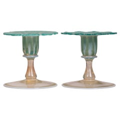 Pair of Tiffany Favrile Glass Morning Glory Candlesticks