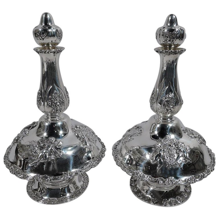 Pair of Tiffany Rococo Revival Sterling Silver Liqueur Decanters For Sale