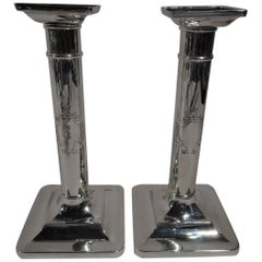 Pair of Tiffany Sterling Silver Classical Column Candlesticks