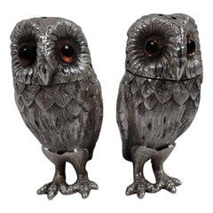 Pair of Tiffany Sterling Silver Owl Salt and Pepper Shakers
