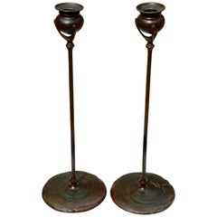 Pair of Tiffany Studios 1213 Art Nouveau Candle Sticks