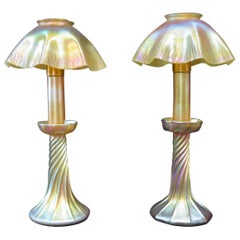 Pair of Tiffany Studios Candlestick Lamps