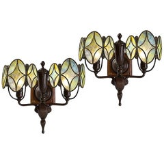 "Pair of Tiffany Studios Double Shield ""Diamond"" Two-Armed Sconces"