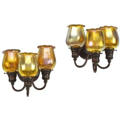 "Pair of Tiffany Studios New York ""Three-Light Tulip"" Wall Sconces"