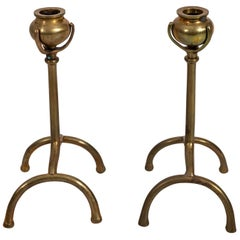 Pair of Tiffany Style Brass Urn Shaped Candlesticks