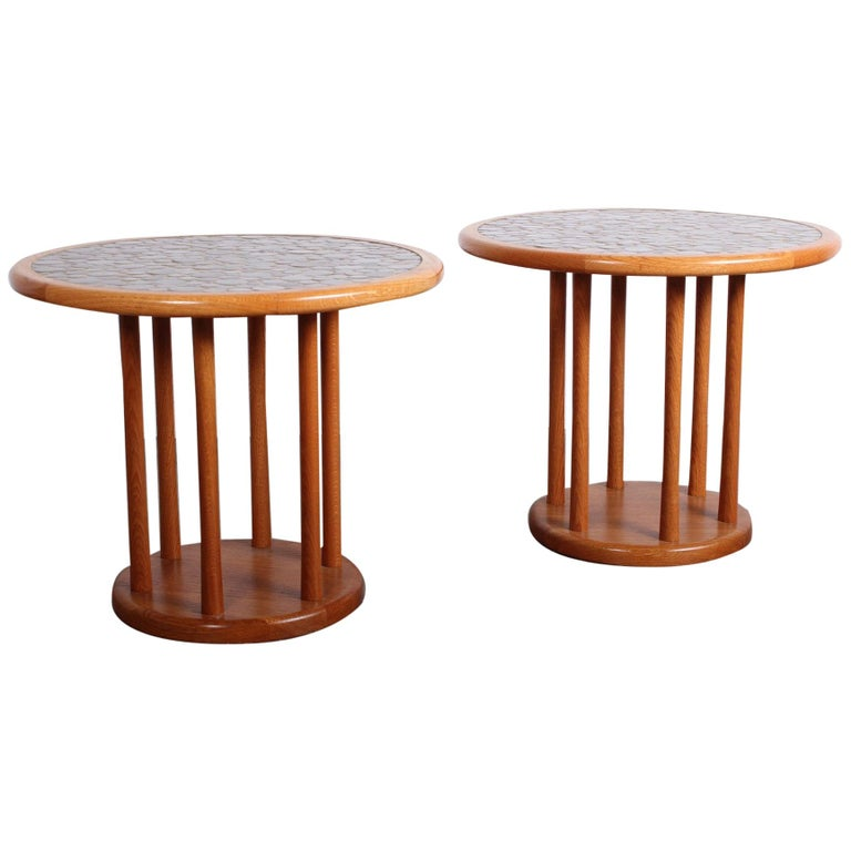 Pair of Tile Tables by Gordon Martz For Sale