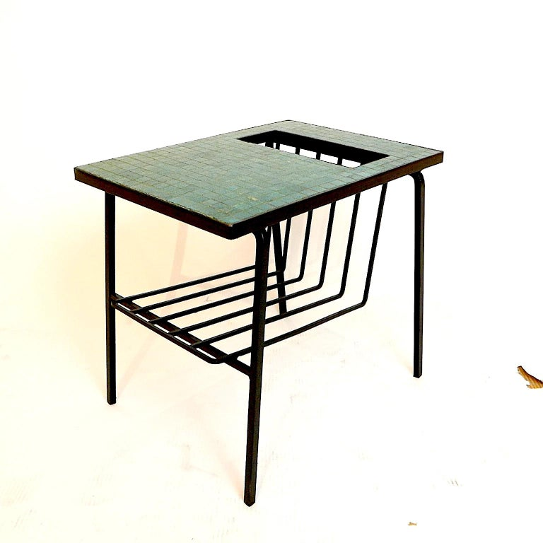 Mid-Century Modern Pair of Tile Top Wrought Iron Magazine End Tables or Stands Possibly Paul McCobb For Sale