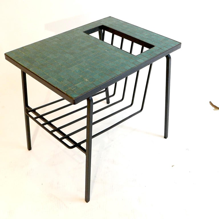 Pair of Tile Top Wrought Iron Magazine End Tables or Stands Possibly Paul McCobb In Good Condition For Sale In Hudson, NY