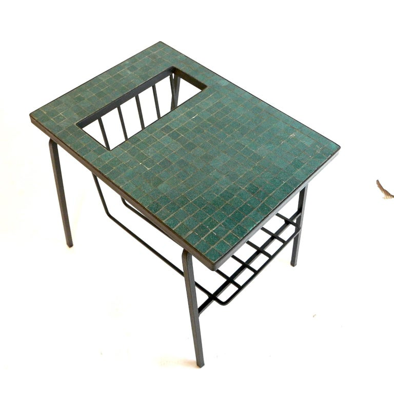 Mid-20th Century Pair of Tile Top Wrought Iron Magazine End Tables or Stands Possibly Paul McCobb For Sale