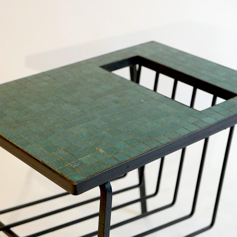 Ceramic Pair of Tile Top Wrought Iron Magazine End Tables or Stands Possibly Paul McCobb For Sale