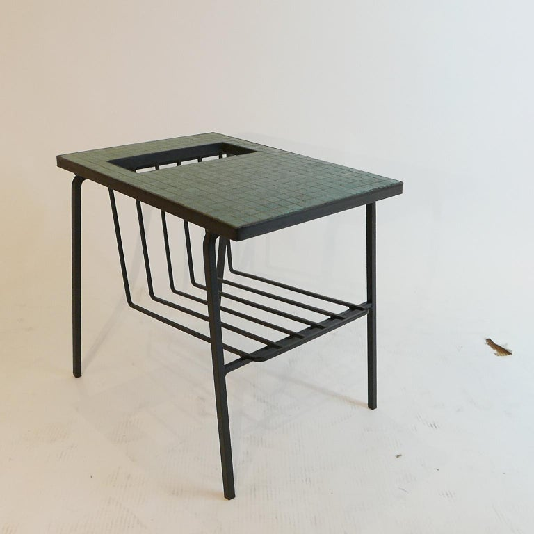 Pair of Tile Top Wrought Iron Magazine End Tables or Stands Possibly Paul McCobb For Sale 1