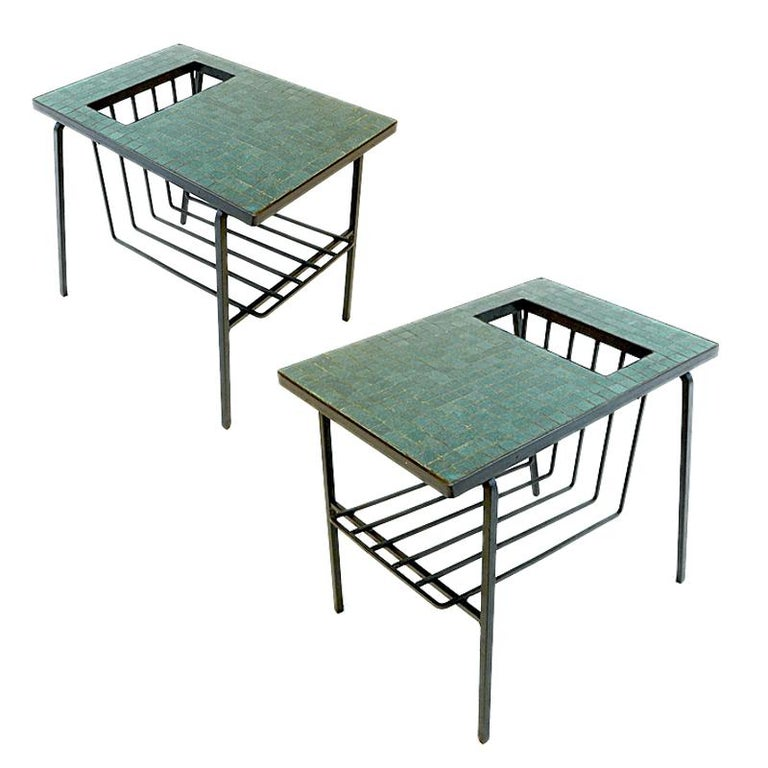 Pair of Tile Top Wrought Iron Magazine End Tables or Stands Possibly Paul McCobb For Sale