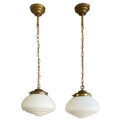 Pair of Timeless Art Deco and Bauhaus Style Brass and Opaline Pendant Lights
