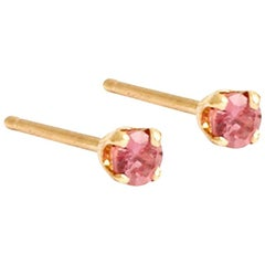 Pair of Tiny Pink Sapphire and Solid Gold Studs by Allison Bryan