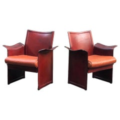 Pair of Tito Agnoli Korium Cognac Leather Armchairs Chairs for Matteo Grassi