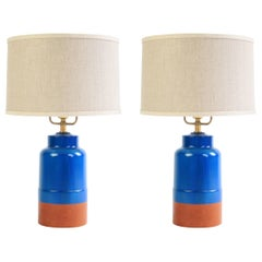 Pair of Tiverton Lamps in Delft Blue with Cognac Leather by O&G Studio