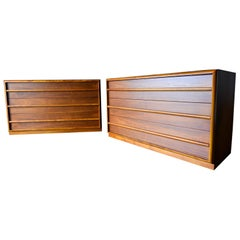 Pair of T.H. Robsjohn-Gibbings for Widdicomb Walnut Dressers, circa 1955
