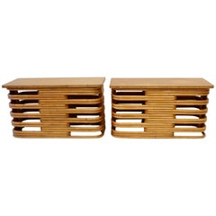 Pair of Tochiku Japan Stacked Bamboo Side Tables with Top Tier