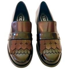 Pair of Tod's Cordovan (Burgundy) & Black Leather Kiltie Tassel Flap Loafers