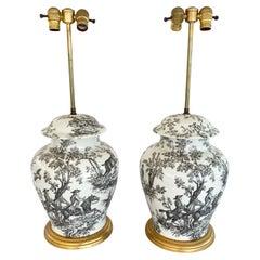 Pair of Toile Ginger Jar Lamps by Porcelaine de Paris