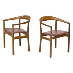"Pair of ""Tokyo"" Chairs in Oak & Leather by Carl-Axel Acking for NK, Sweden"