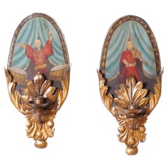 Pair of Tole and Gilt Metal Italian Style Wall Sconces