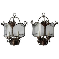 Pair of Tole and Glass Sconce