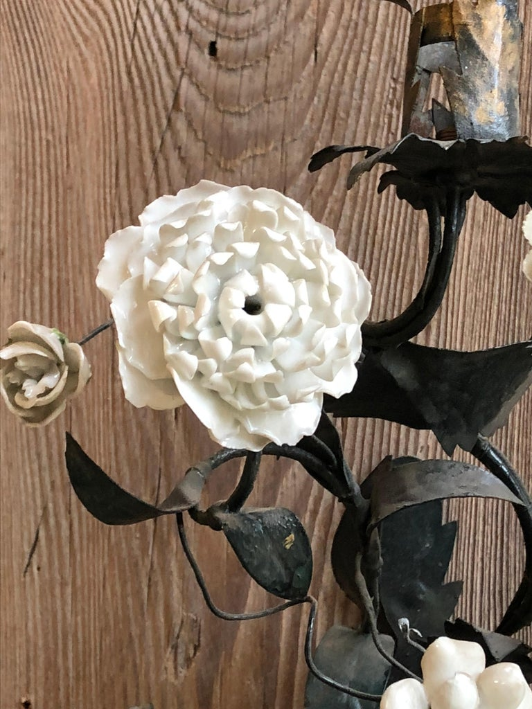 Pair of Tole and White Bisque Floral Sconces In Good Condition For Sale In Doylestown, PA