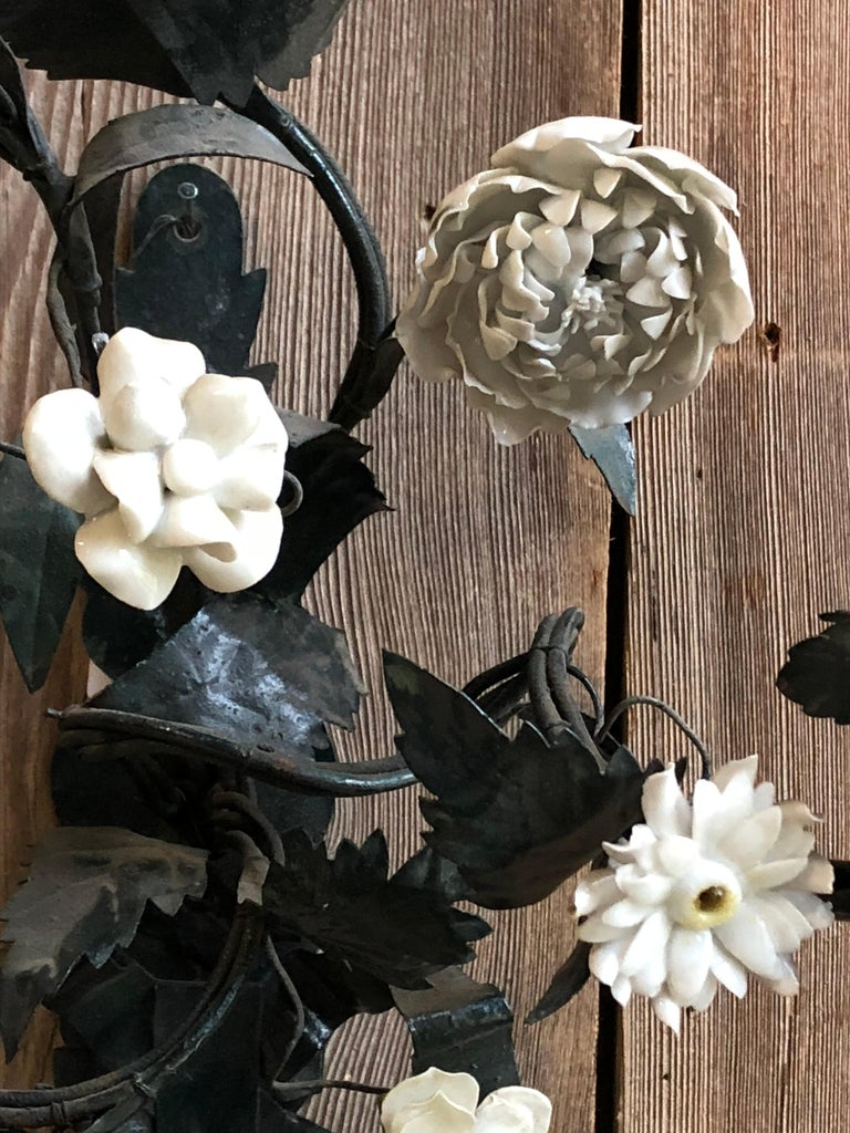 Porcelain Pair of Tole and White Bisque Floral Sconces For Sale
