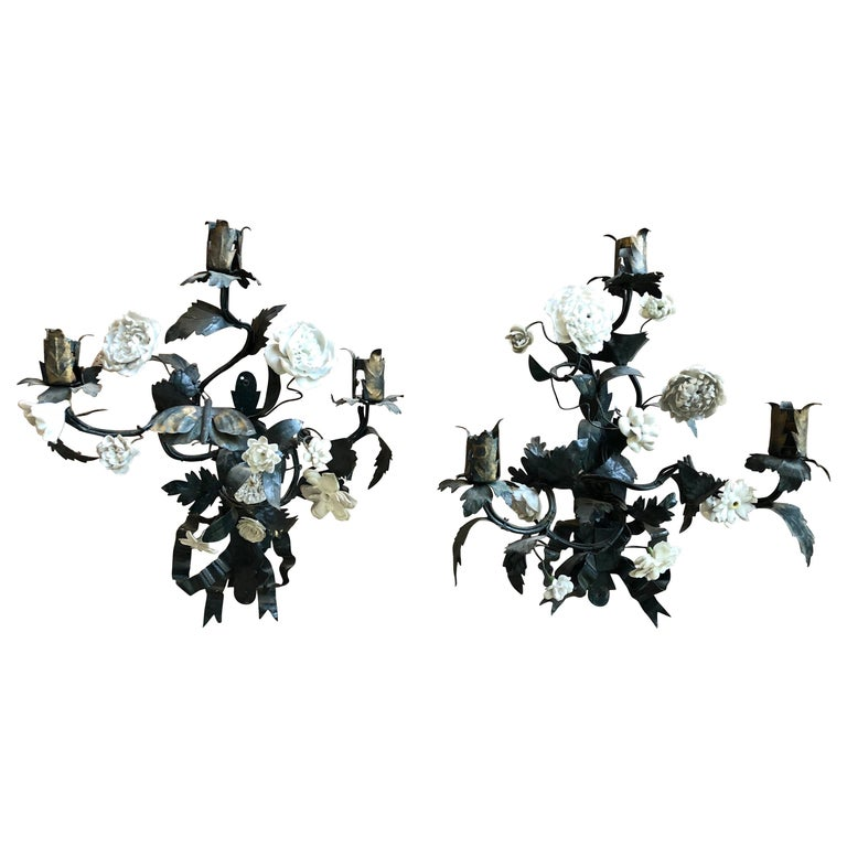 Pair of Tole and White Bisque Floral Sconces For Sale