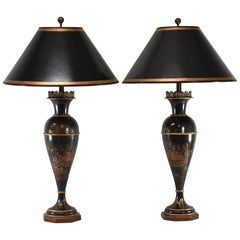 Pair of Black Tole Asian Style Table Lamps