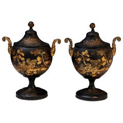 Pair of Tole Chestnut Urns