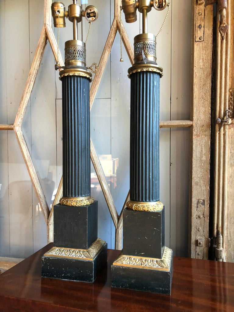 Pair of Tole Column-Form Lamps, 19th Century For Sale 4