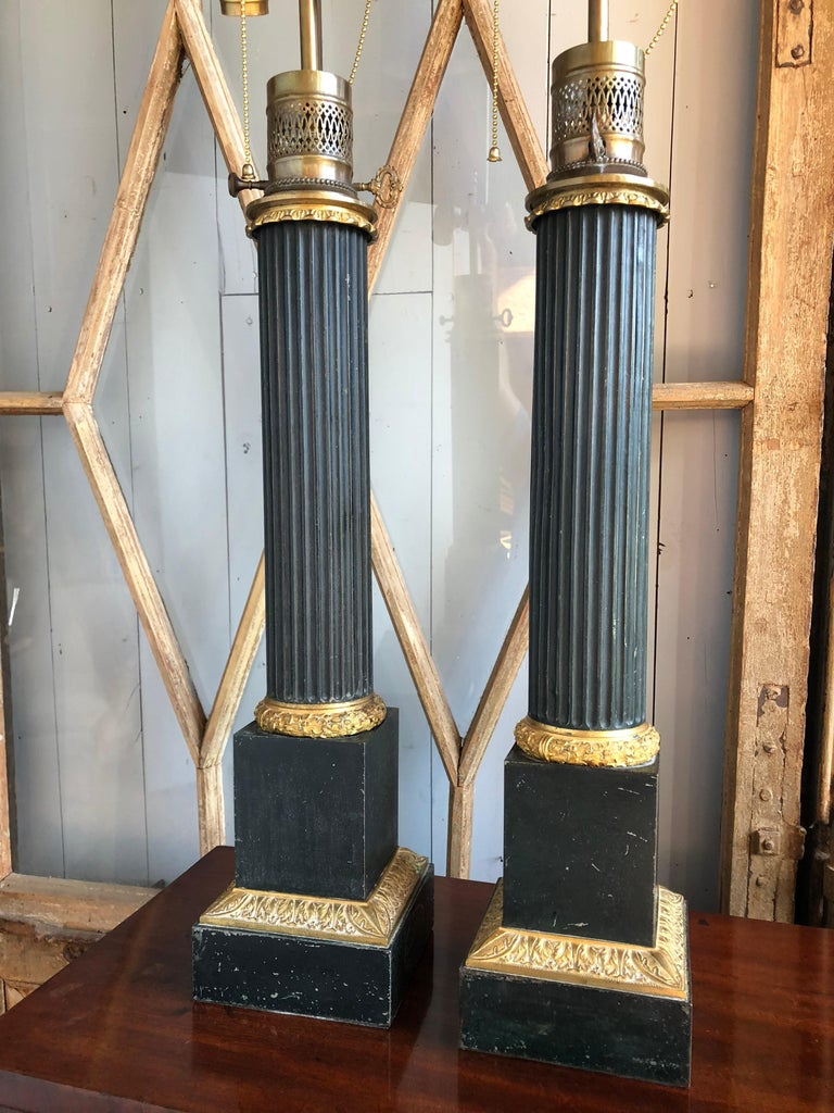 Pair of Tole Column-Form Lamps, 19th Century For Sale 5