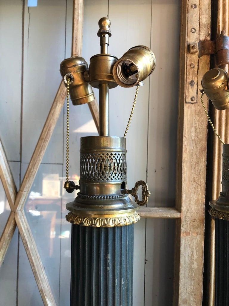 Pair of Tole Column-Form Lamps, 19th Century For Sale 2