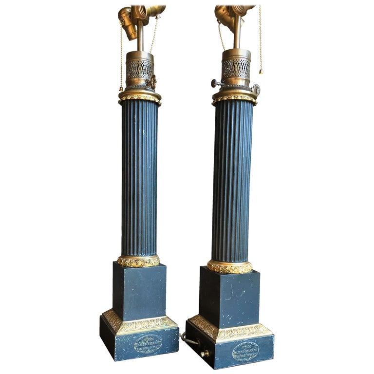Pair of Tole Column-Form Lamps, 19th Century For Sale