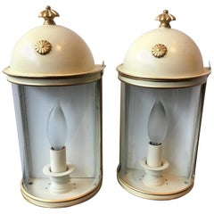 Pair of Tole Cylindrical Sconces by Vaughn